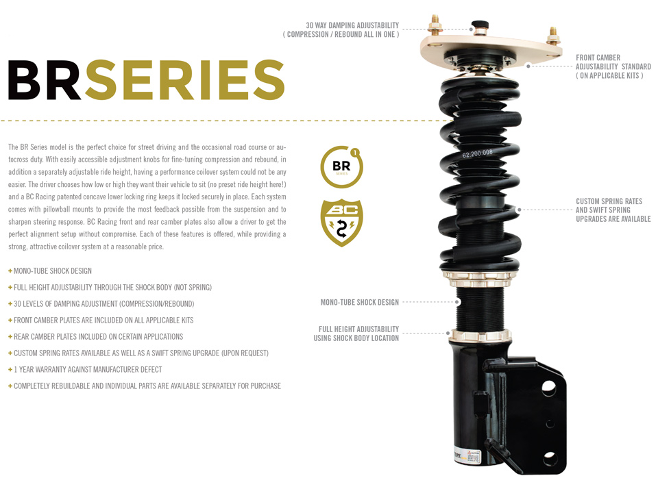 BC Racing BR Type Coilover for 88-92 BMW E30 (I-07)
