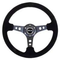 NRG Reinforced Steering Wheel – 350mm Sport Steering Wheel (3″ Deep) – Black Spoke Suede Black Stitch