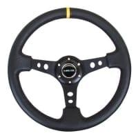 NRG Premium Leather Black Stitch 350mm, 3″ Deep Dish Black Spoke w/ Round Holes w/ Yellow Center Mark