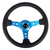 NRG Reinforced Steering Wheel – 350mm Sport Steering Wheel (3″ Deep) – Blue Spoke w/ Round holes / Black Leather