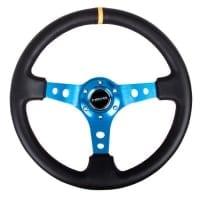 NRG Reinforced Steering Wheel – 350mm Sport Steering Wheel (3″ Deep) – Blue Spoke w/ Round holes / Black Leather with yellow center marking