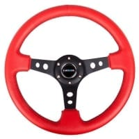 NRG Reinforced Steering Wheel – 350mm Sport Steering Wheel (3″ Deep) – Black Spoke w/ Round holes / Red Leather / Black Stitch