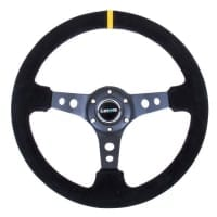 NRG Reinforced Steering Wheel – 350mm Sport Steering Wheel (3″ Deep) – Suede Black Stitch w/ Yellow Center Mark
