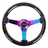 NRG Classic Black Sparkled Wood Grain Wheel (3″ Deep,4mm), 350mm, 3 Solid spoke center in Neochrome