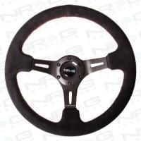 NRG Black Suede Steering Wheel (3″ Deep), 350mm, 3 spoke center in Black w/ Red Stitch