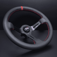 DND Performance 350MM Leather Race Wheel – Red Stitch