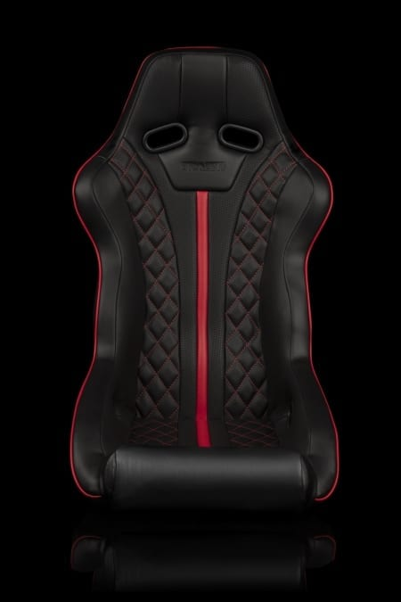 Braum Falcon X Series FIA Approved Fixed Back Racing Seat – Diamond Edition w/ Red Piping
