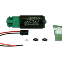 AEM 340lph E85-Compatible High Flow In-Tank Fuel Pump (65mm with hooks, Offset Inlet) | 50-1215