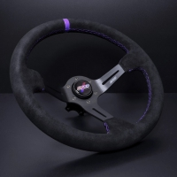 DND Performance 350MM Alcantara Race Wheel – Purple Stitch