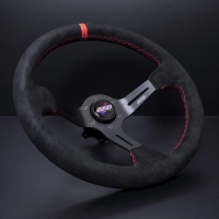 DND Performance 350MM Alcantara Race Wheel – Red Stitch