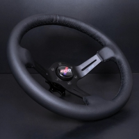 DND Performance 350MM Leather Race Wheel – Black Stitch
