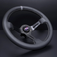 DND Performance 350MM Leather Race Wheel – Grey Stitch