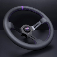 DND Performance 350MM Leather Race Wheel – Purple Stitch