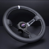 DND Performance 350MM Leather Race Wheel – White Stitch