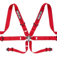 Sparco 6 Point 3″ Cam Lock Seat Belt Harness – Red