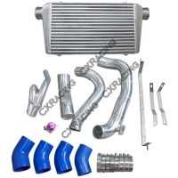 CX Racing Intercooler Kit + Turbo Intake Kit for 99-06 BMW E46 with 2JZ-GTE Engine with Stock Twin Turbo and R154 Transmission Swap