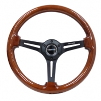NRG Reinforced Steering Wheel (350mm / 3in. Deep) Brown Wood w/Blk Matte Spoke/Black Center Mark