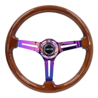 NRG Reinforced Steering Wheel (350mm / 3in. Deep) Brown Wood w/Blk Matte Spoke/Neochrome Center Mark