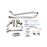 CX Racing LS1 Engine, Transmission Mounts Kit w/ Header, Oil Pan, Oval Exhaust Pipes For 84-91 BMW 3 Series E30 LS LSx T56 Swap