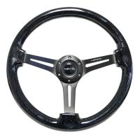 NRG Reinforced Steering Wheel (350mm / 3in. Deep) Black Multi Color Flake Wood w/ Black Matte Center