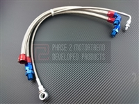 P2M NISSAN S13 SR20DET STEEL BRAIDED TURBO LINE KIT – TOP MOUNT